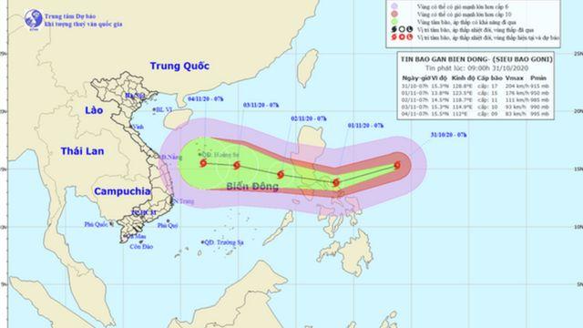 Vị trí và hướng di chuyển siêu bão Goni