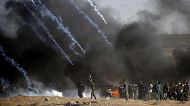 Pasukan keamanan Israel di perbatasan Jalur Gaza dengan Israel, konflik Israel-Palestina.