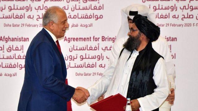 Спецпредставитель США по вопросам афганского примирения Залмай Халилзад и представители радикального движения