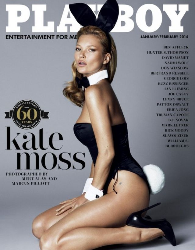 Kate Moss on the cover of the January/February 2014 60th anniversary issue of Playboy