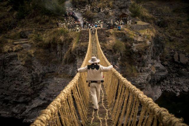 Crossing the new bridge