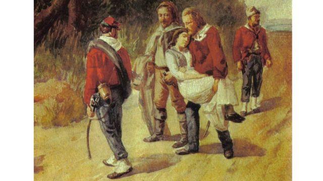 Quadro de autor desconhecido retrata Anita à beira da morte, carregada por Garibaldi