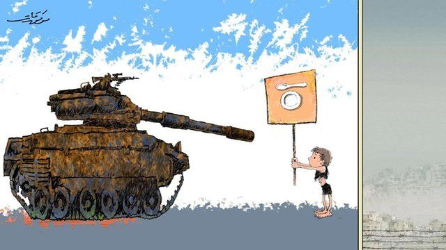 A cartoon created by prominent Syrian artist Mwafaq Katt depicts a child in tattered clothes facing a tank while holding a banner that shows a plate and a spoon.