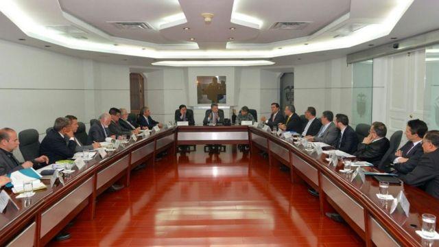 Reunión del presidente de Colombia Juan Manuel Santos con representantes de iglesias cristianas.