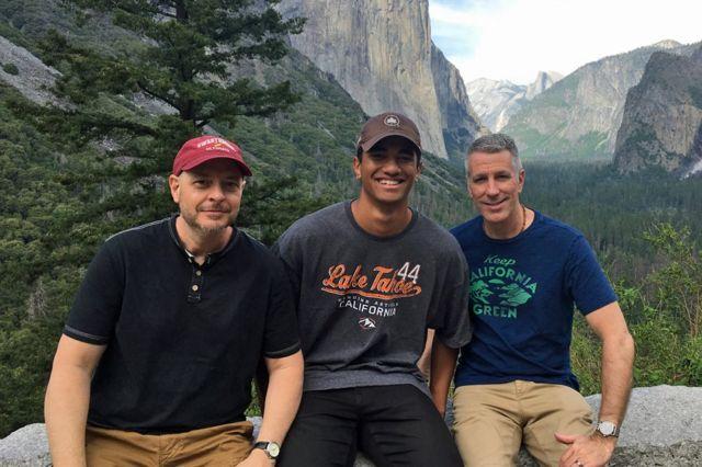 Pete, Kevin y Danny en el Parque Nacional Yosemite, en 2019.