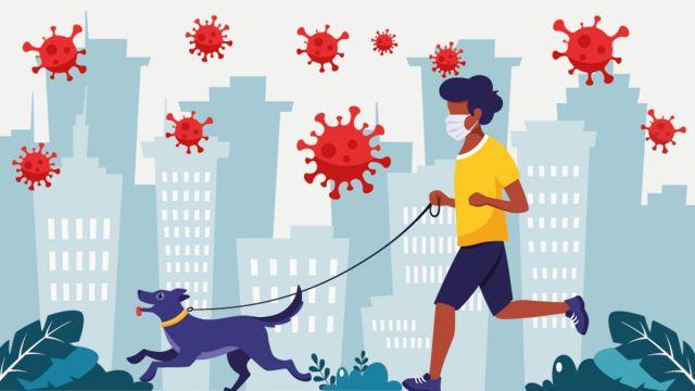 Ilustração de pessoa correndo com cachorro e coronavírus no ar
