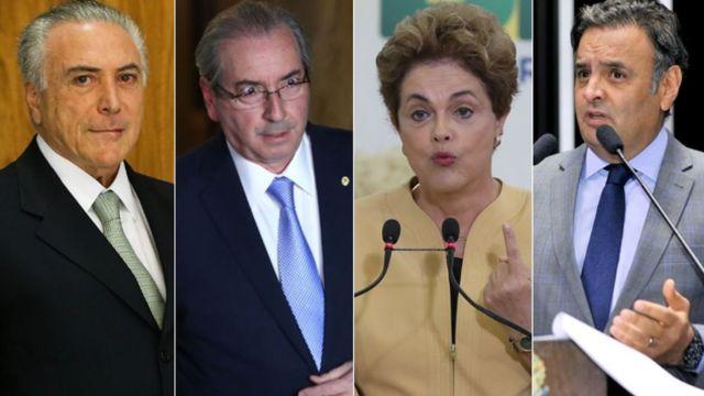 Temer, Cunha, Dilma e Aécio