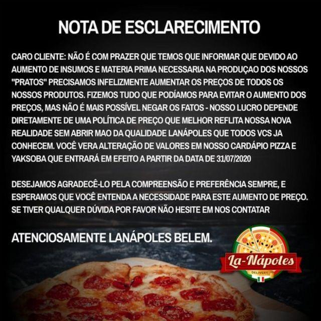 Comunicado de pizzaria