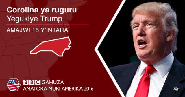 Trump atsinze intara yarwanirwa ya Carolina ya rugugu kuri 51% ku 46%