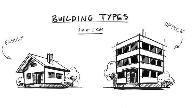 Dibujo de casa de familia y oficina