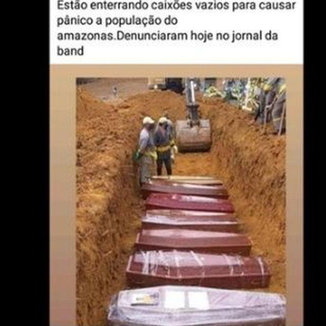 Publicação no Facebook com fake news sobre caixões vazios