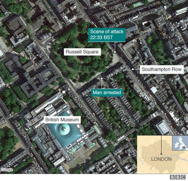 ラッセル・スクエアと事件発生、逮捕された場所、大英博物館などの位置