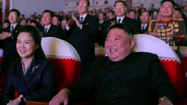 Ri and Kim were photographed smiling during Tuesday's concert.