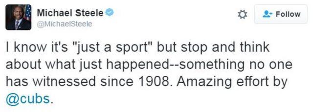 「ただのスポーツ」だというのは分かってるけれども、たった今なにが起きたのかちょっと考えてみて。1908年以来、誰も見たことがないことが起きたんだ。カブスはすごいことをやってのけた」とスティール氏