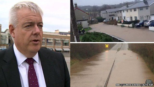 Carwyn Jones, Tal-y-Bont flood clean-up work and A55 under water