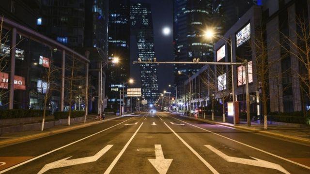 Calles de Pekín, desierta.