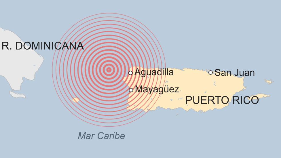 Mapa del terremoto de 1918 en Puerto Rico.