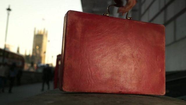 A red briefcase.
