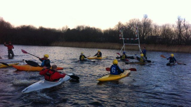 The water polo match took place on Devenish College's flooded football pitch