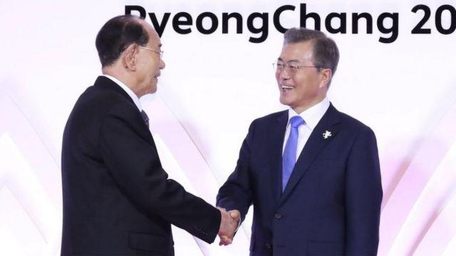 นายคิม ยองนัม (ขวา) เป็นผู้นำอย่างเป็นทางการของคณะตัวแทนจากเกาหลีเหนือ