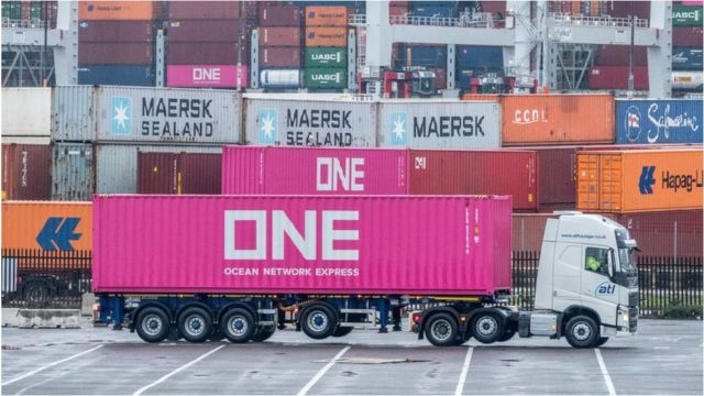 A lorry at a port
