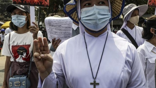 Catholic nuns join a protest in Myanmar