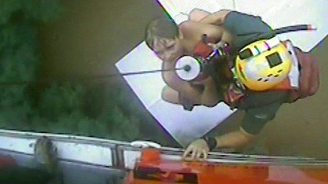 Aerial rescue during flooding