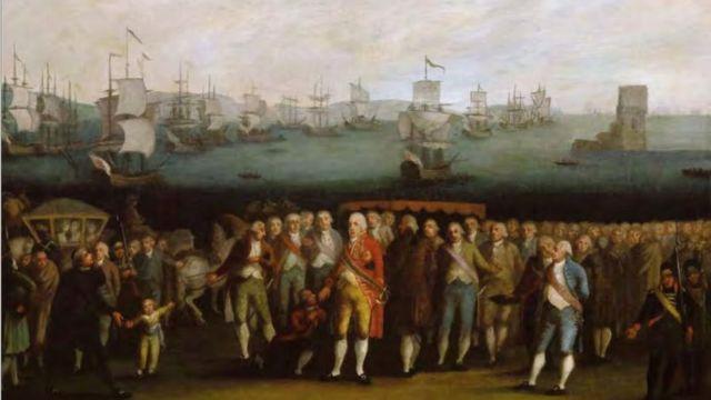 Quadro de autor desconhecido representa a família real portuguesa embarcando de Lisboa para o Brasil