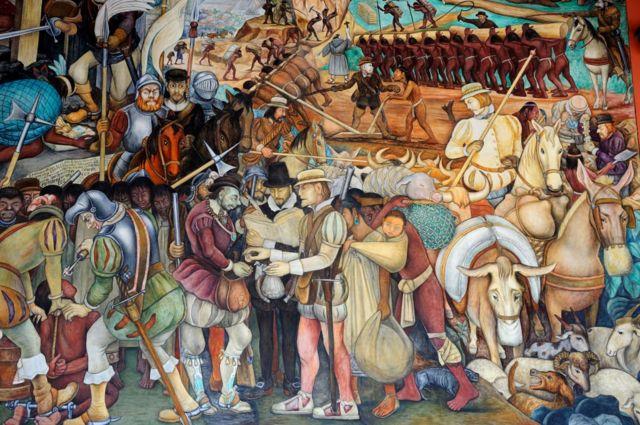 Un mural de la época colonial de Diego Rivera