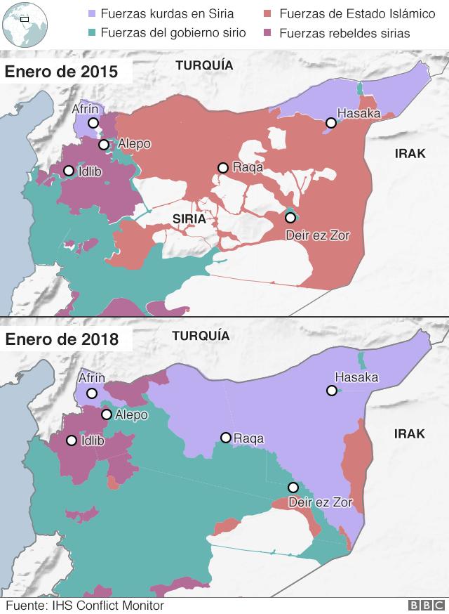 Mapa que muestra los cambios en el control territorial en Siria entre 2015 y 2018.