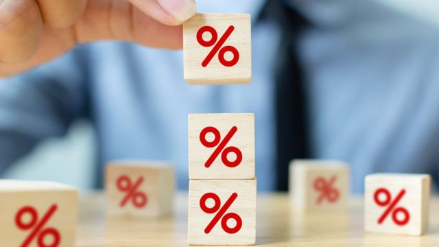 Imagem de cubos com símbolo de percentual