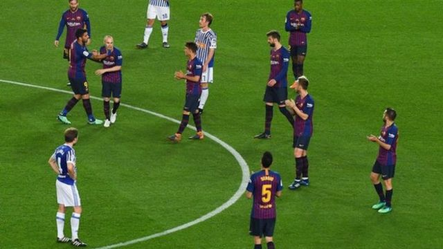 Andres Iniesta leaves the Camp Nou pitch for the final time