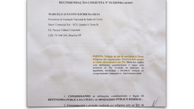 Documento de recomendação da PGR