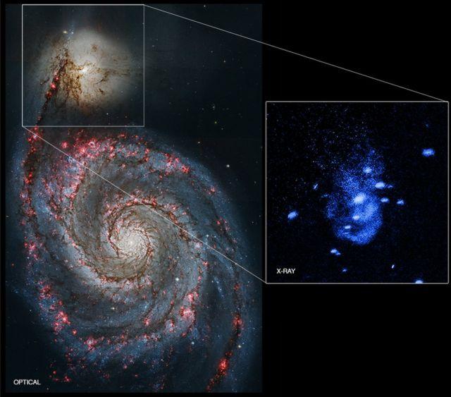 「NGC5194」は巨大な渦巻銀河「NGC5195」の伴銀河だ