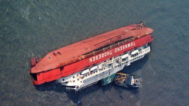 Capsized ferry off Zeebrugge