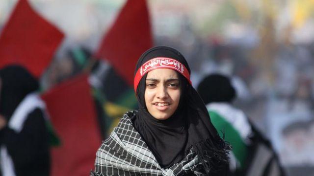 পাকিস্তান: করাচীতে জেরুসালেম দিবস উপলক্ষে বিক্ষোভে অংশগ্রহণকারী নারী, ৩১-০৫-২০১৯।