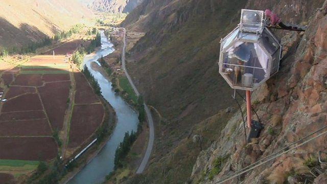 Sky Lodge hotel capsule in Peru's Sacred Valley