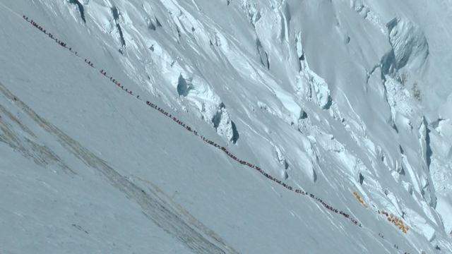 珠峰攀登者排队等候冲顶