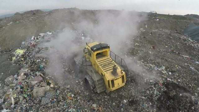 Lorry at rubbish dump