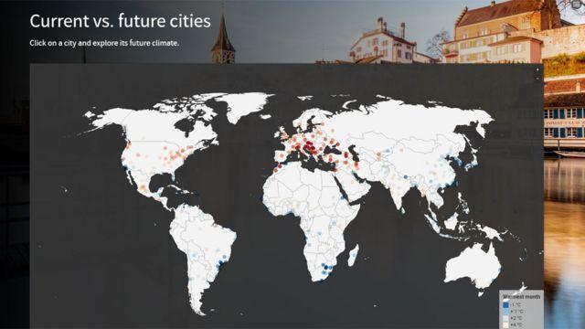 Mapa de aumentos de temperatura en las ciudades para 2050