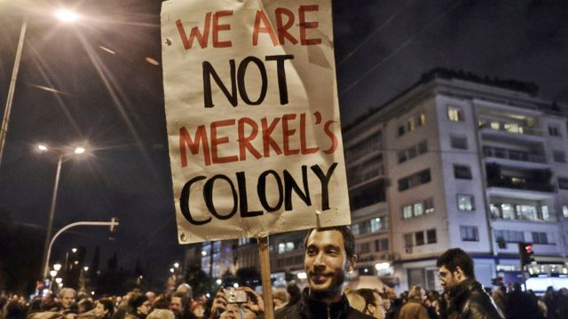 Protesta antialemana en Grecia.