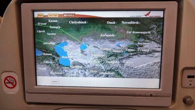 Una pantalla de un Dreamliner