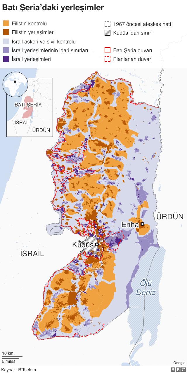 israil batı şeria yerleşim ve kontrol haritası