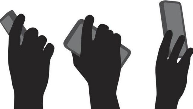 Desenhos de mãos segurando celulares
