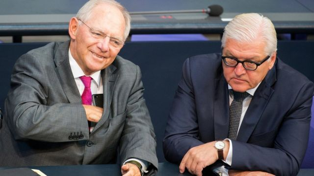 Image shows Wolfgang Schäuble and German President Frank-Walter Steinmeier