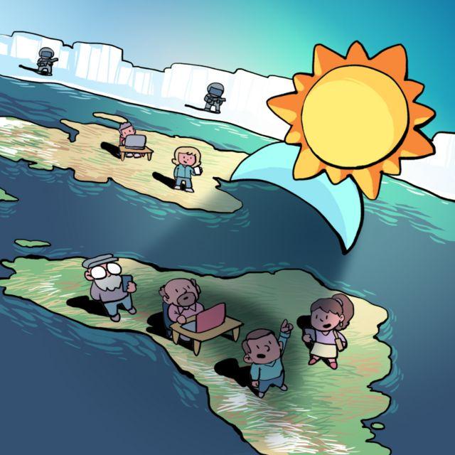 Ilustração mostra pessoas observando um eclipse tal qual imaginado pelos terraplanistas