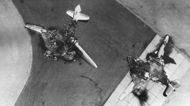 Aviones de la Fuerza Aérea de Egipto destruidos por Israel.