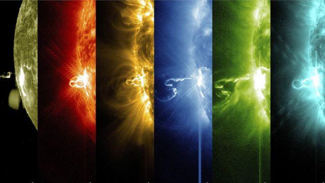 Вспышка на Солнце в разном световом диапазоне