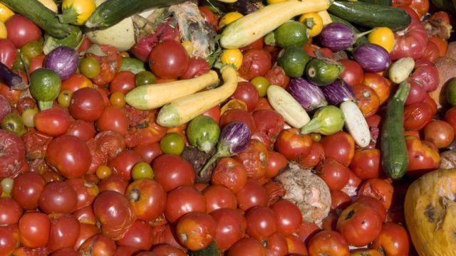 Thrown away vegetables