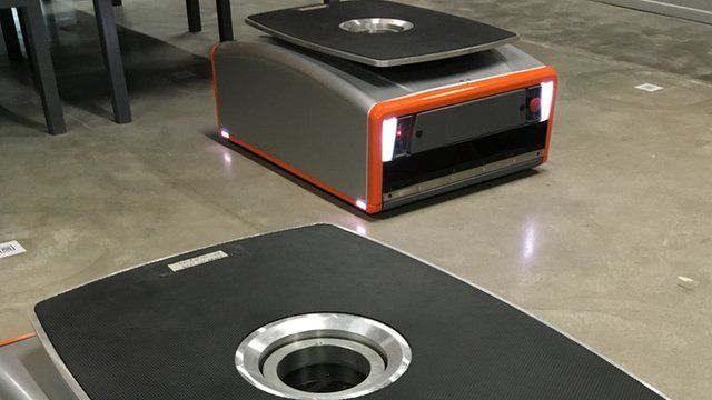 """The """"Butler"""" artificial intelligence robot which GreyOrange make for warehouses"""